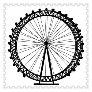 300x300 London Eye Stamp Cushion True Brit Collection