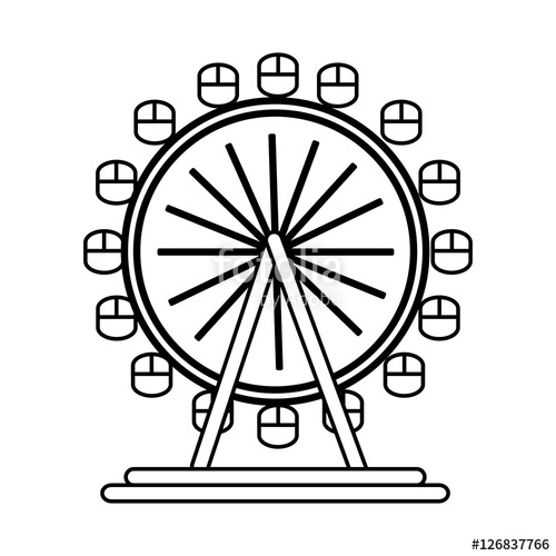 500x500 London Eye Wheel Icon Vector Illustration Graphic Design Stock