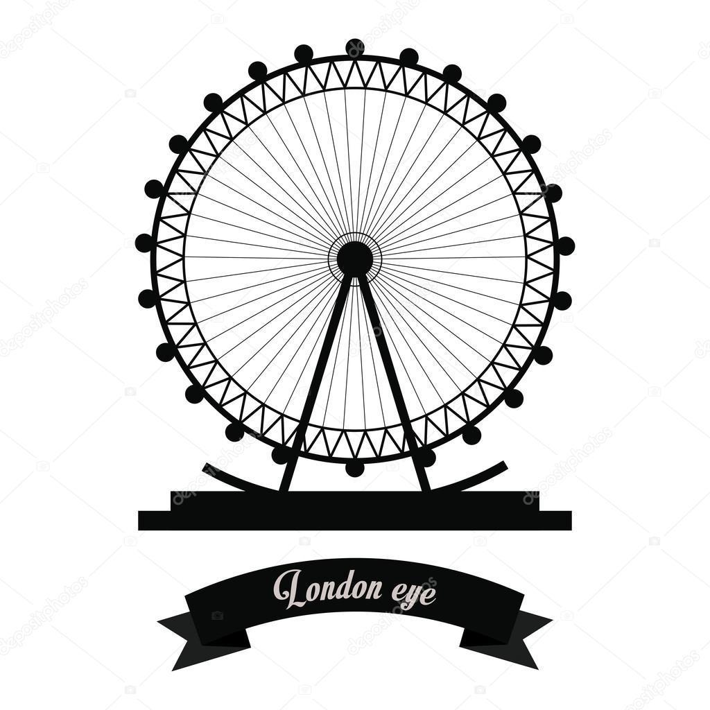 1024x1024 London Eye Icon. United Kingdom Design. Vector Graphic Stock