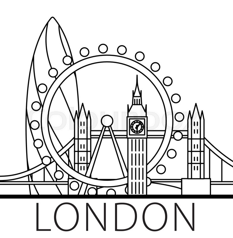 784x800 London City Skyline. Thin Line Linear Illustration Stock Vector
