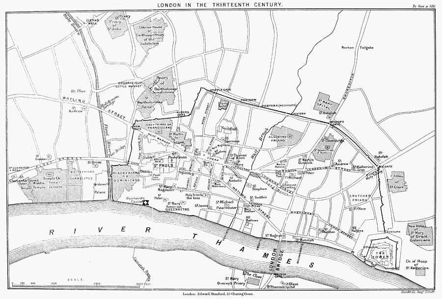 900x610 Map London, 13th Century Photograph By Granger