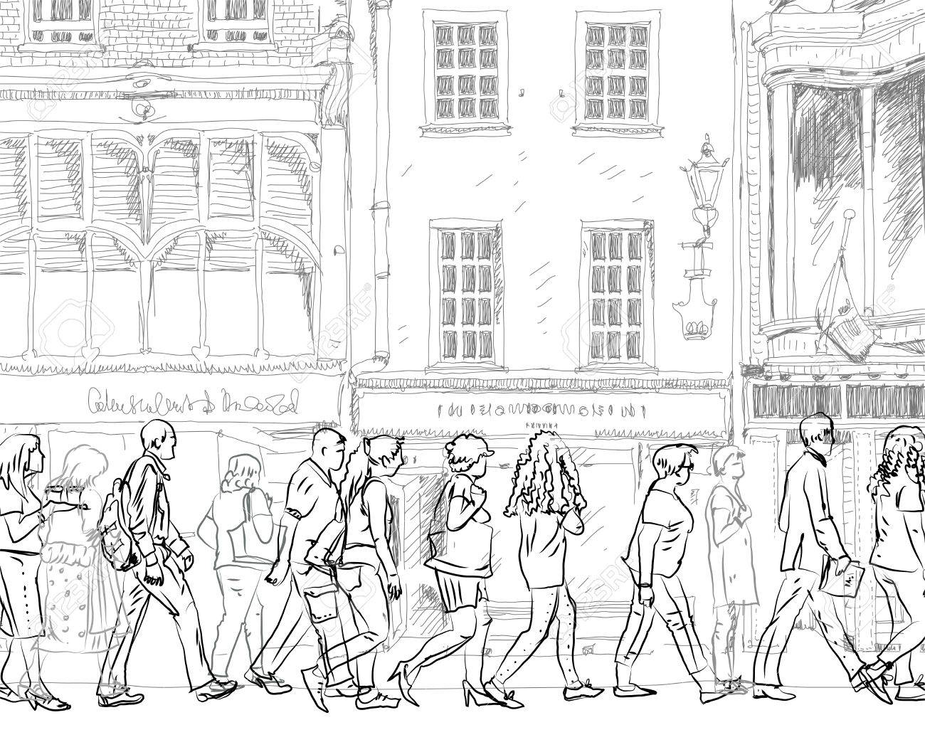 1300x1057 People And Tourists On The London Streets, Sketch Collection Stock
