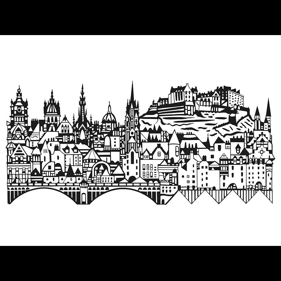 945x945 Edinburgh Skyline Screenprint By Susie Wright