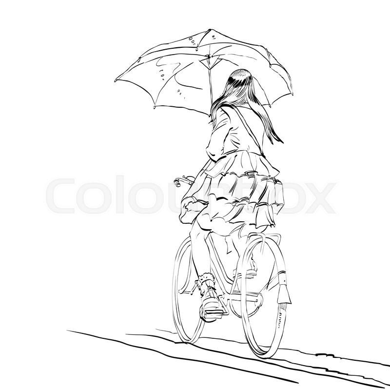 800x800 Girl On Bike With Umbrella Autumn Rain Hands Drawn Vector