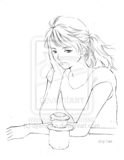 400x517 pencil drawings of lonely people sketch in cafeteria by sketch