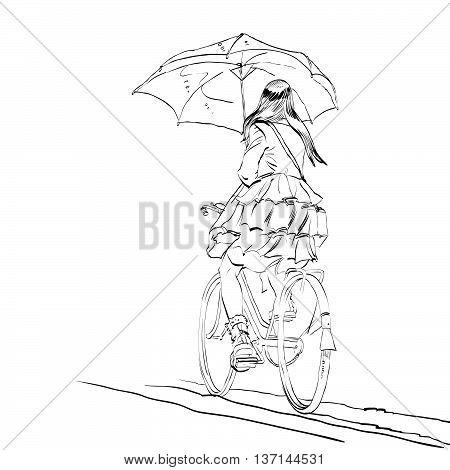450x470 Girl On Bike Umbrella Autumn Rain Vector Amp Photo Bigstock