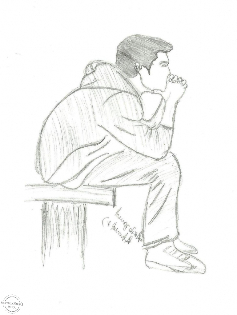 Alone boy listen music hd pictures pencil sketch