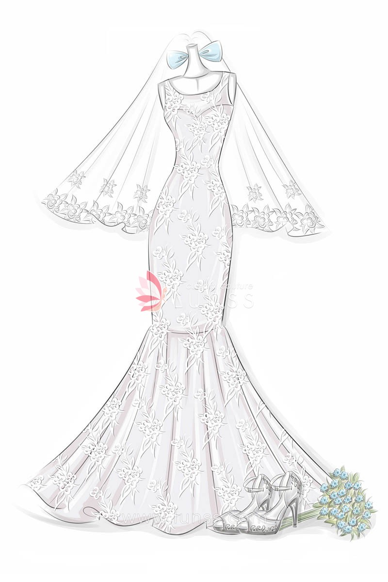 800x1200 Fashion Sketch Of Floral Embroidered Appliques Bateau Neck Mermaid