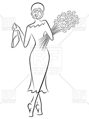 300x400 Graceful Lady In A Long Dress With A Bouquet Of Roses Royalty Free