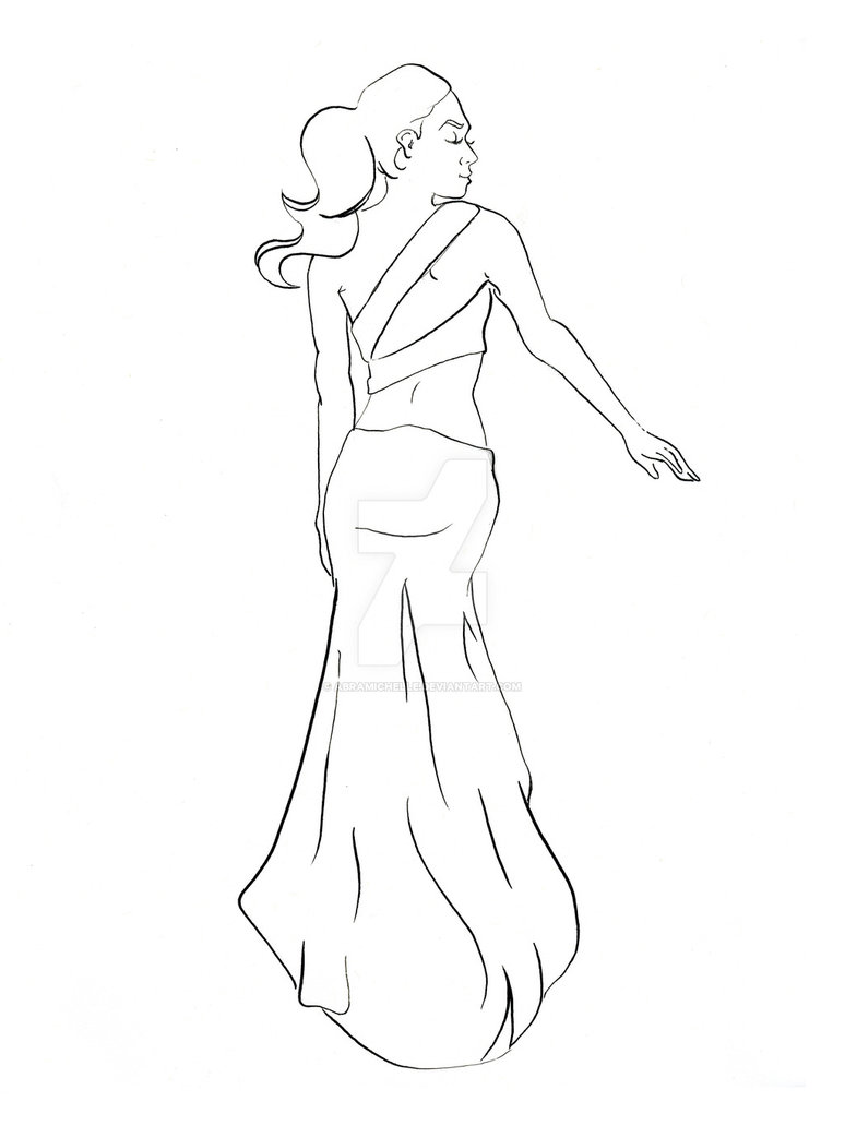 774x1032 Sexy Back Long Dress Coloring Book Version By Abramichelle