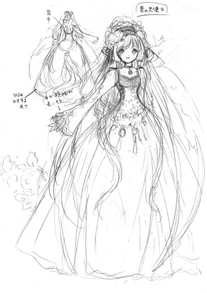 414x586 Sketch Of Princess With Ball Gown Amp Long Hair By Manga Artist