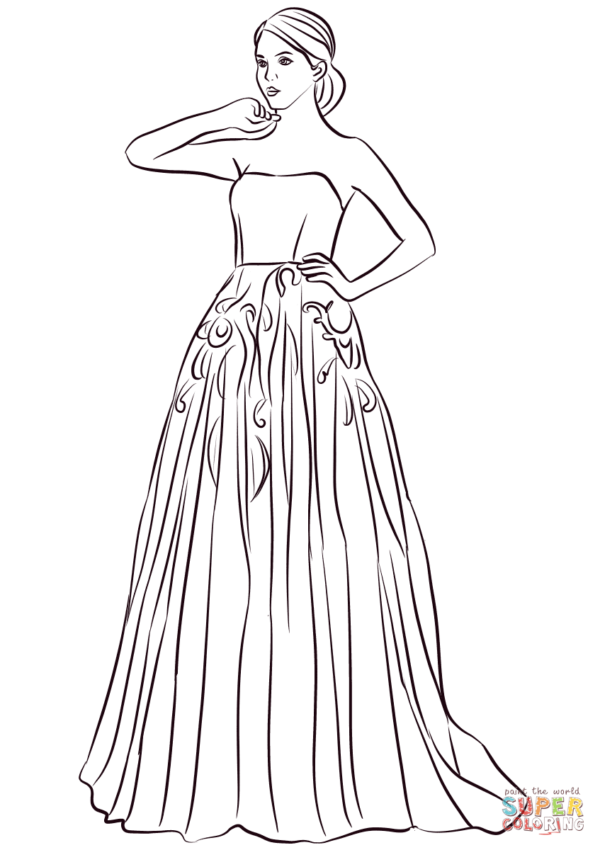847x1200 Strapless Long Prom Dress Coloring Page Free Printable Coloring