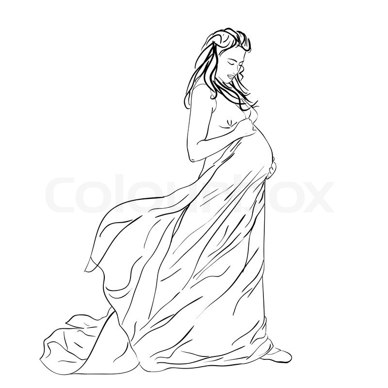 800x800 The Beautiful Pregnant Woman In A Long Dress Stock Vector