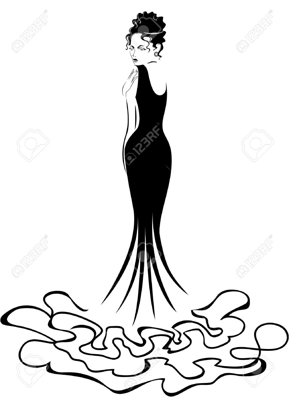 944x1300 Beautiful Elegant Woman In A Long Black Dress Royalty Free