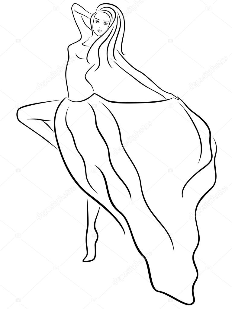 768x1024 Beautiful Slim Woman Demonstrates Long Dress Stock Vector