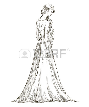 374x450 Fashion Hand Drawn Illustration. Vector Sketch. Long Dress