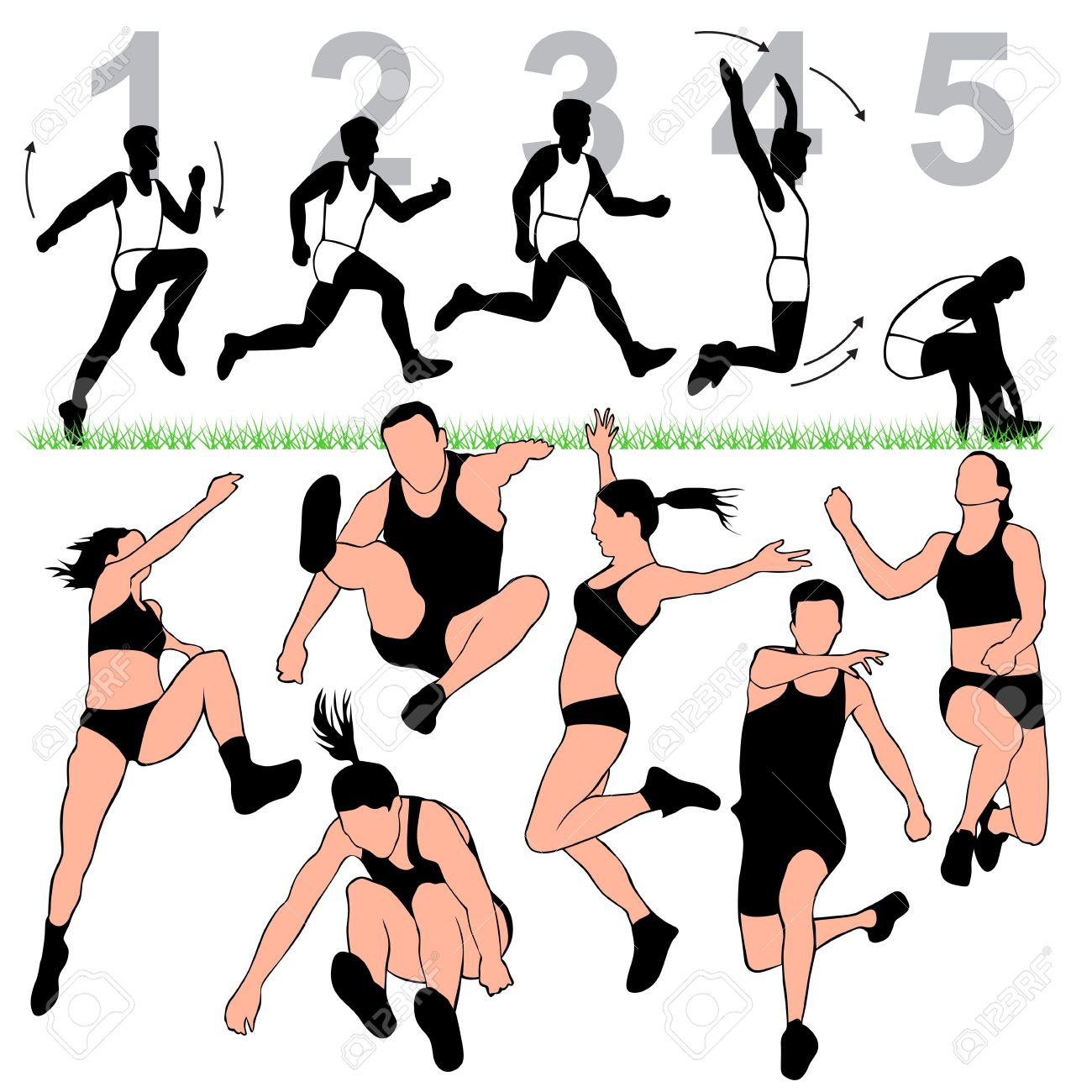 1300x1300 Long Jump Silhouettes Set Royalty Free Cliparts, Vectors,