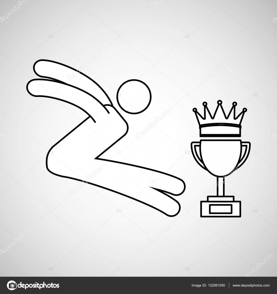 963x1024 Silhouette Person Long Jump Winner Sport Stock Vector