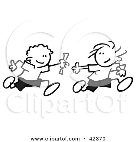 450x470 Clipart Illustration Of Stick Figures Doing The Long Jump, Leaping