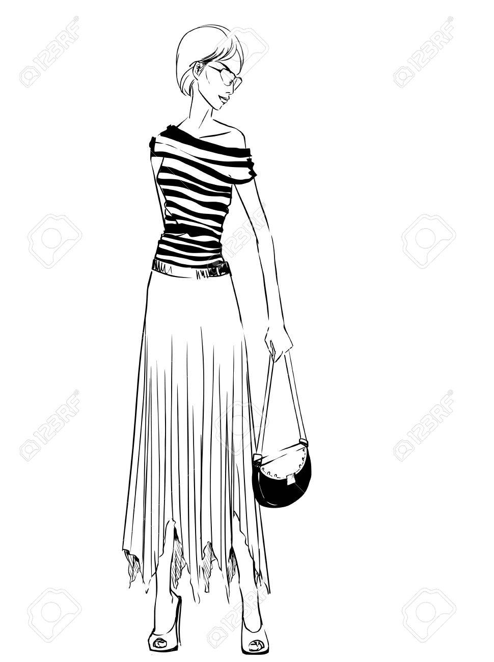 970x1300 Elegant Woman In Long Skirt With A Clutch. Freehand Drawing