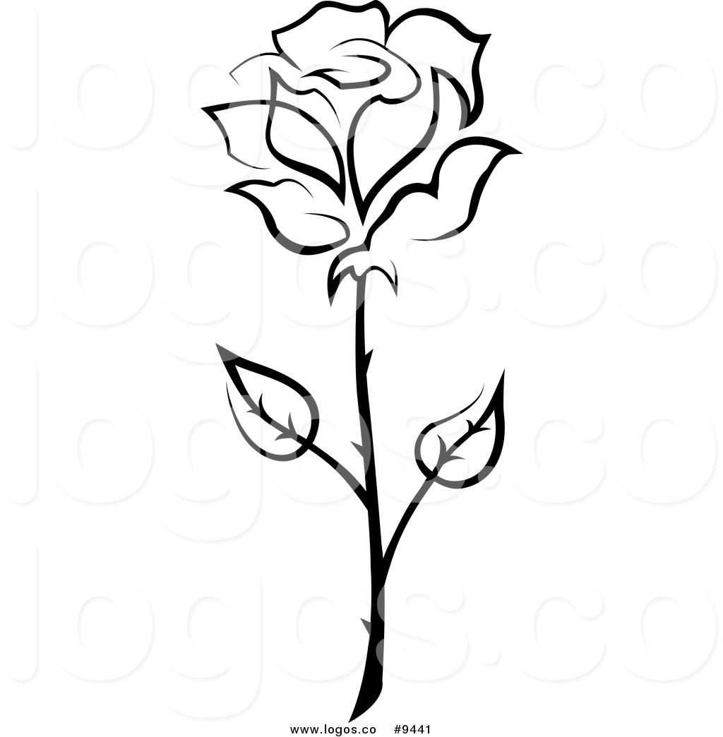 1024x1044 Vector Logo Of A Black And White Thorny Long Stemmed Rose By
