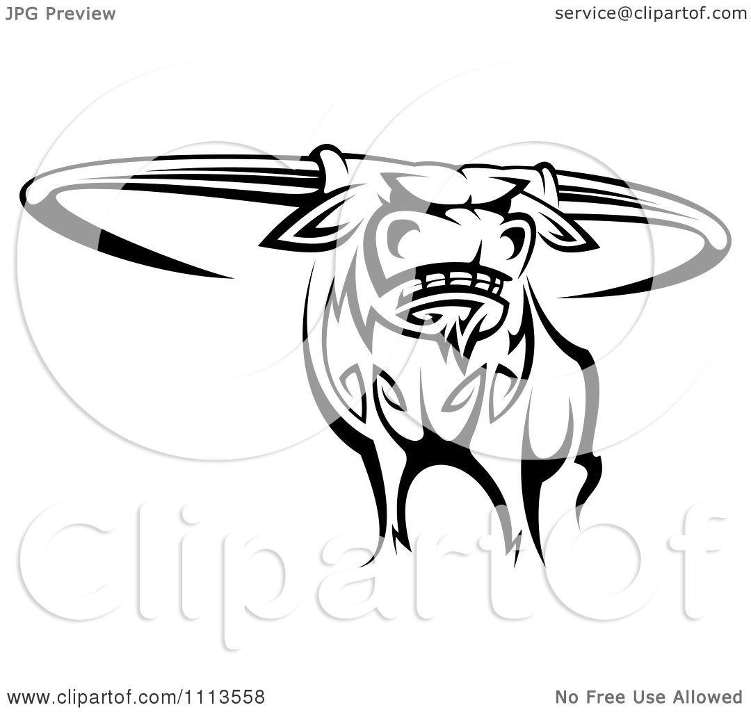 1080x1024 Clipart Black And White Tribal Texas Longhorn Steer Bull 2