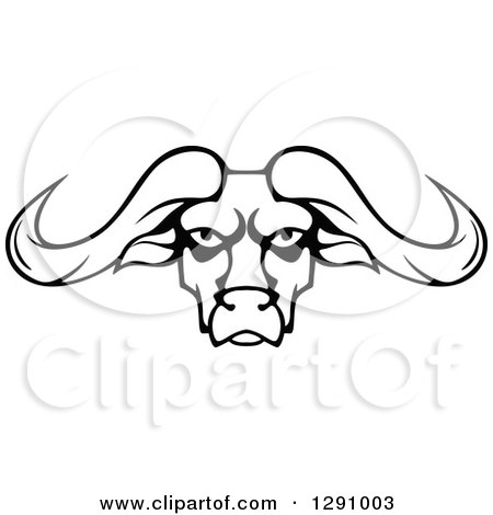 450x470 Clipart Of A Black And White Longhorn Bull Face