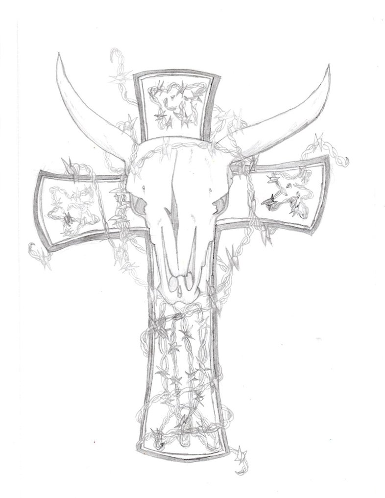 786x1017 Texas Longhorn Tatoo Sketch By Lookaplane
