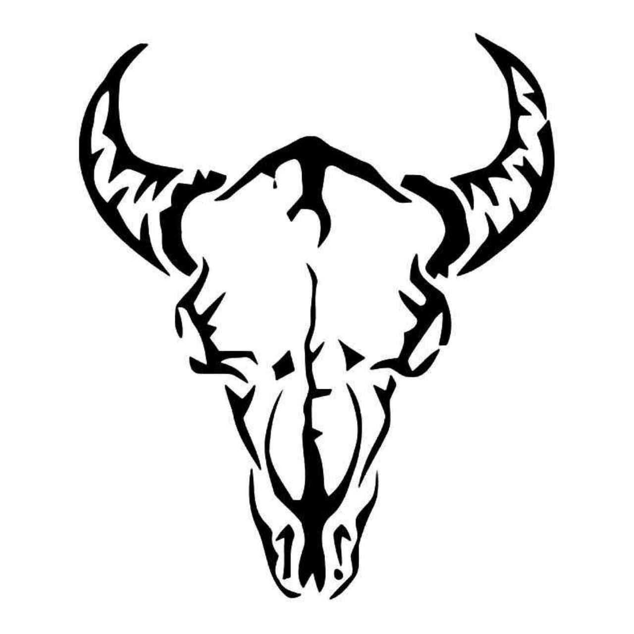 1280x1280 Tribal Longhorn Cow Skull Vinyl Decal Sticker Longhorn Cow, Cow