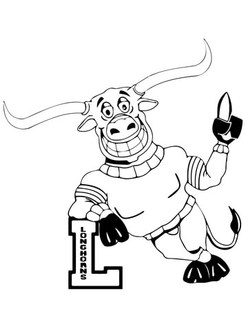 360x480 Ut Longhorn Mascot Coloring Page Free Printable Coloring Pages