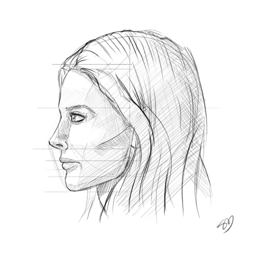 888x888 Girl Looking Up Drawing Profile Girl Face Drawing Profile How