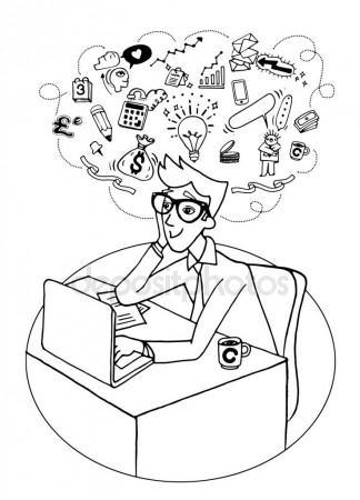 324x450 Businessman Cartoon Sketch Drawing, Childish Style. Drunk Line