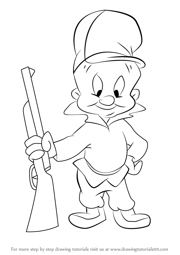596x842 Learn How To Draw Elmer Fudd From Looney Tunes (Looney Tunes) Step