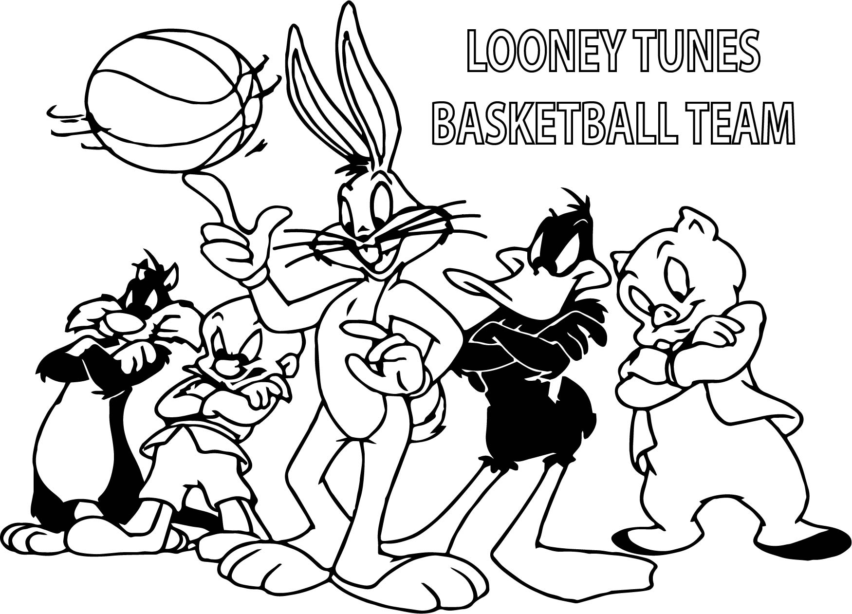 1750x1261 Looney Tunes Basketball Team Coloring Page Wecoloringpage
