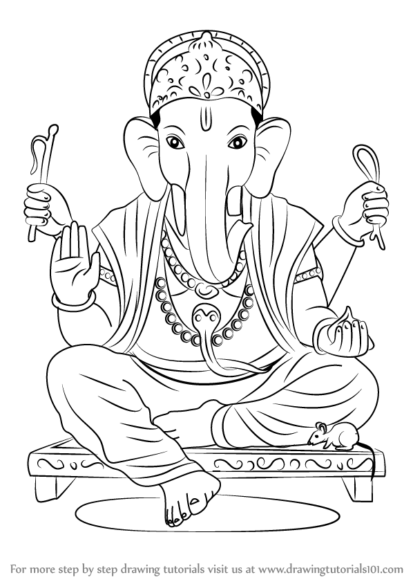 598x844 Learn How To Draw Ganpati Bappa (Hinduism) Step By Step Drawing