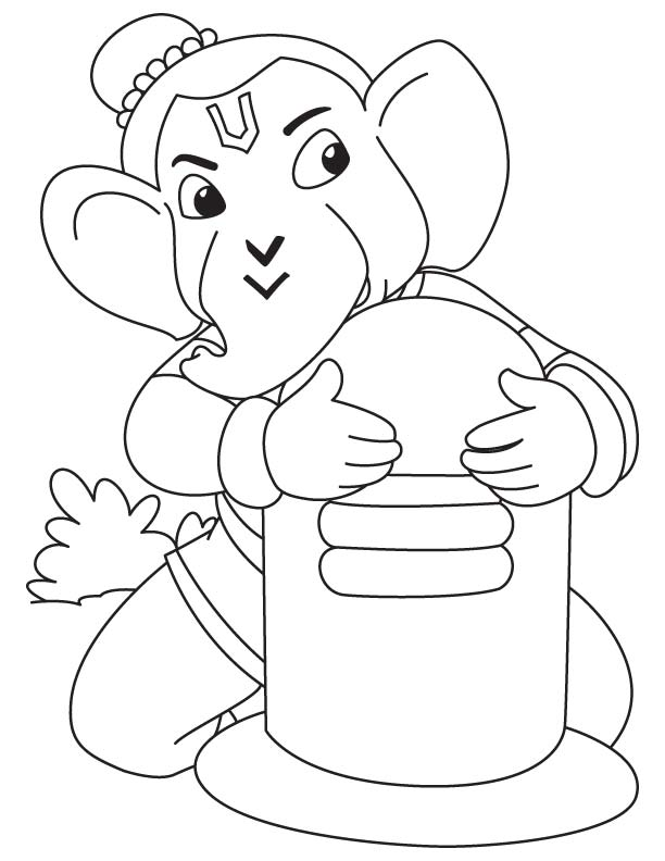 612x792 Lord Ganesha With Shivling Coloring Page Download Free Lord