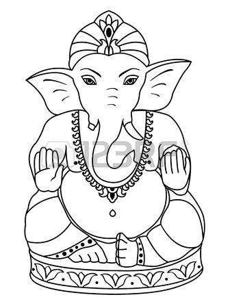 336x450 Vector Lord Ganesha. Outline Sketch Of Ganesha For Coloring Book