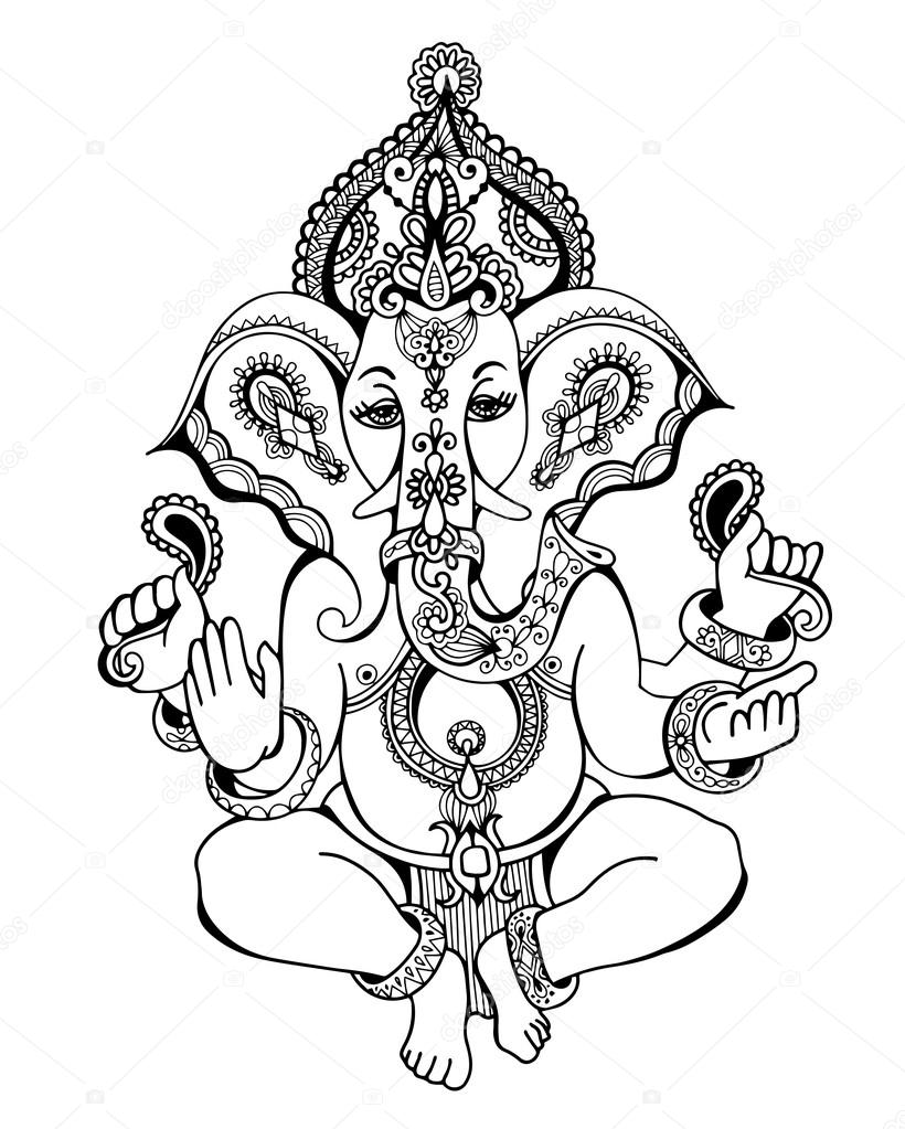820x1023 Hindu Lord Ganesha Ornate Sketch Drawing, Tattoo, Yoga Stock