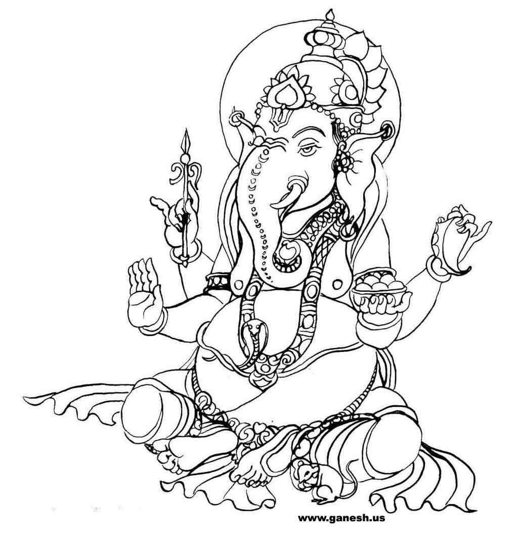 1024x1066 Ganesha Coloring Examples Pages Hindu Gods Drawings Zen Stones