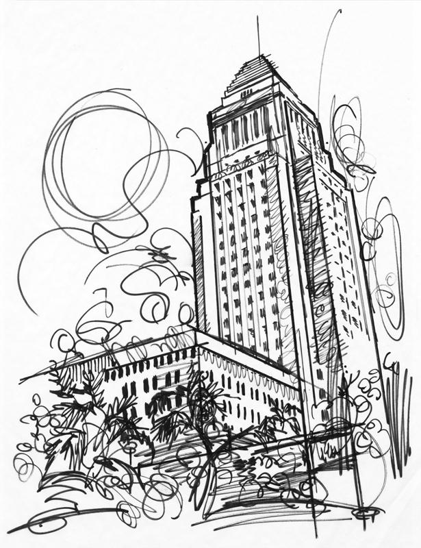 615x800 City Hall, Los Angeles, Illustration By Jake Marshall, Los