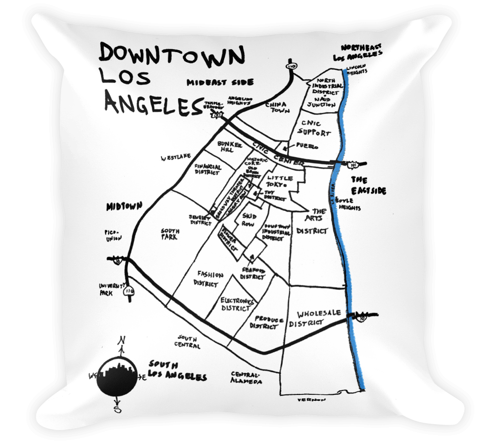 1000x895 Decorative Throw Pillow Downtown Los Angeles, California Hand