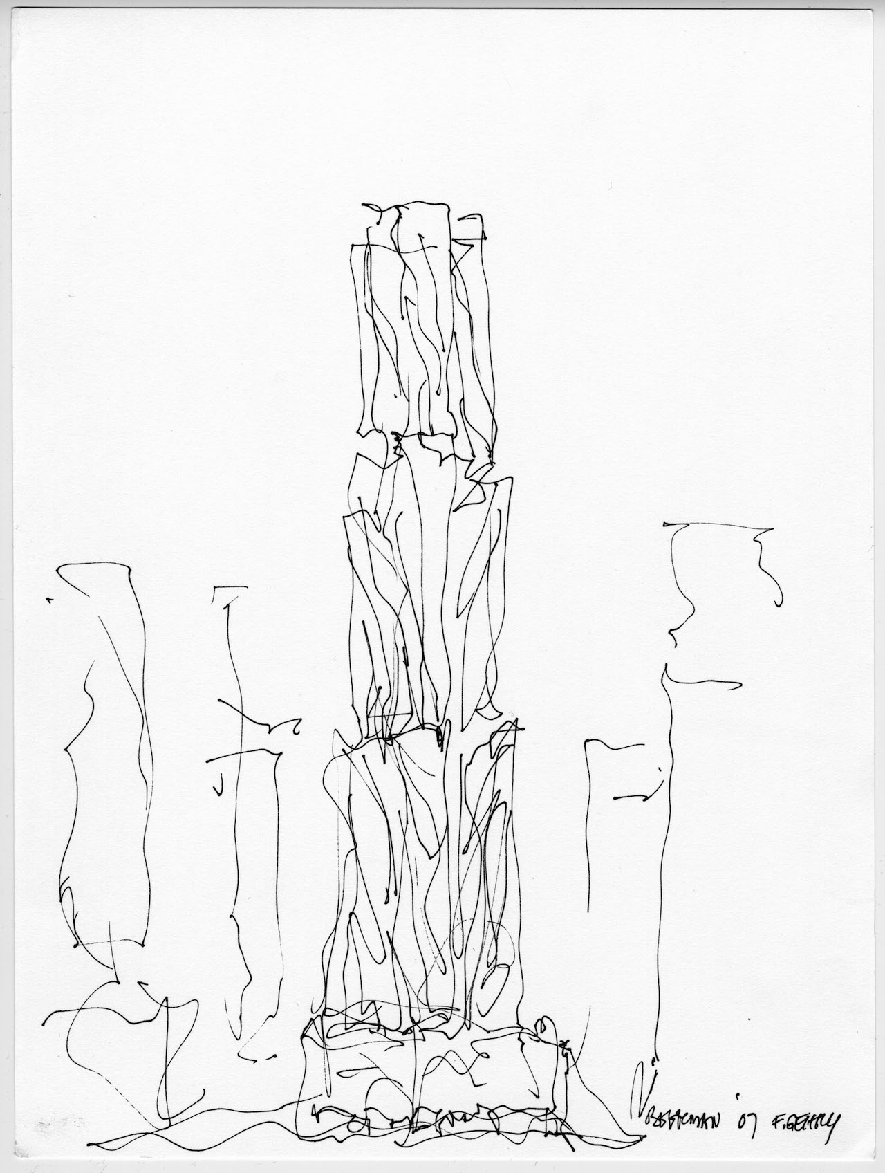 1280x1696 Frank Gehry, 8 Spruce Street Design, Sketch And Volume Study, New