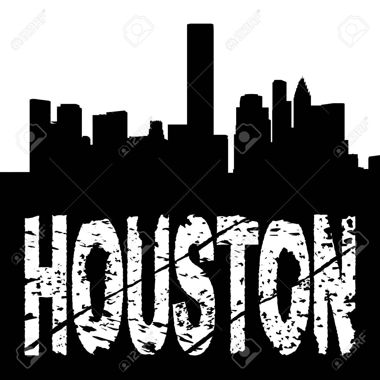1300x1300 Houston Grunge Text With Skyline Illustration Stock Photo, Picture