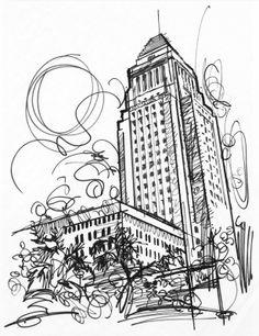 236x306 Urban Lights, Los Angeles, Illustration By Jake Marshall,