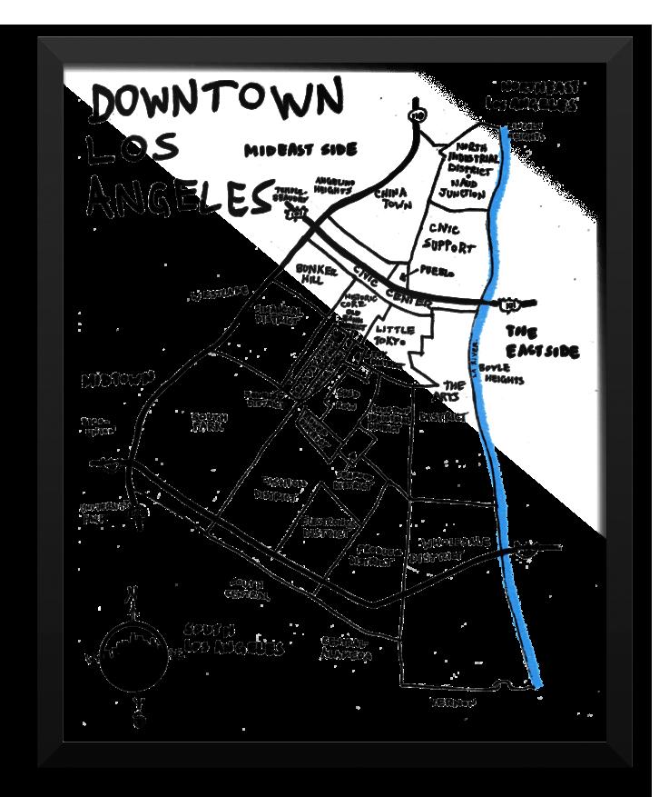 737x877 Wall Art Downtown Los Angeles, California (Hand Drawn City Map