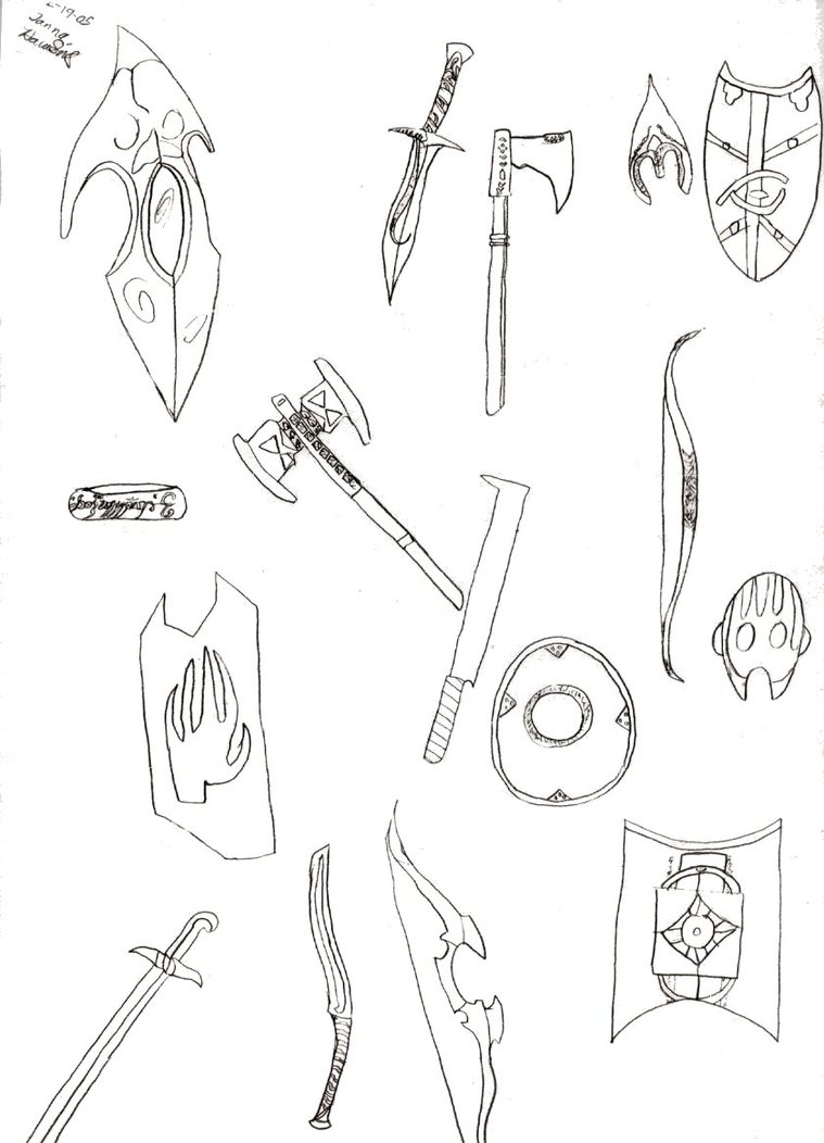 759x1052 Lotr Weapon Sketches By Janna Hawkins