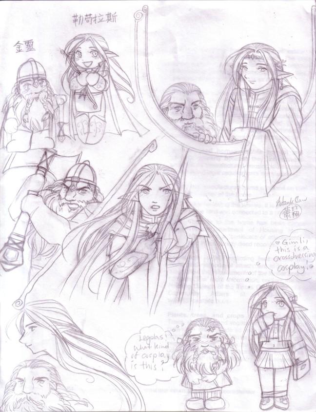 648x844 Lotr Legolas Gimli Sketches By Kriska