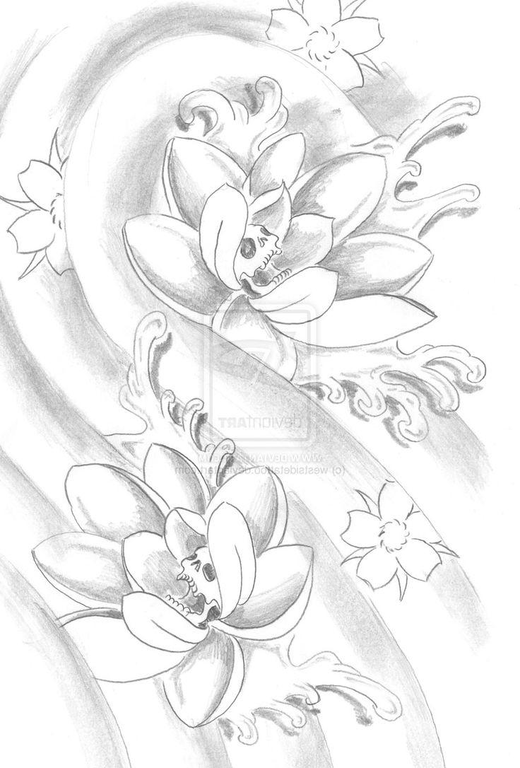 Lotus Flower Drawing Sketch