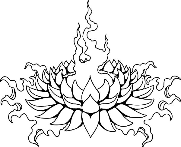 600x490 Flaming Lotus Flower Coloring Pages Batch Coloring