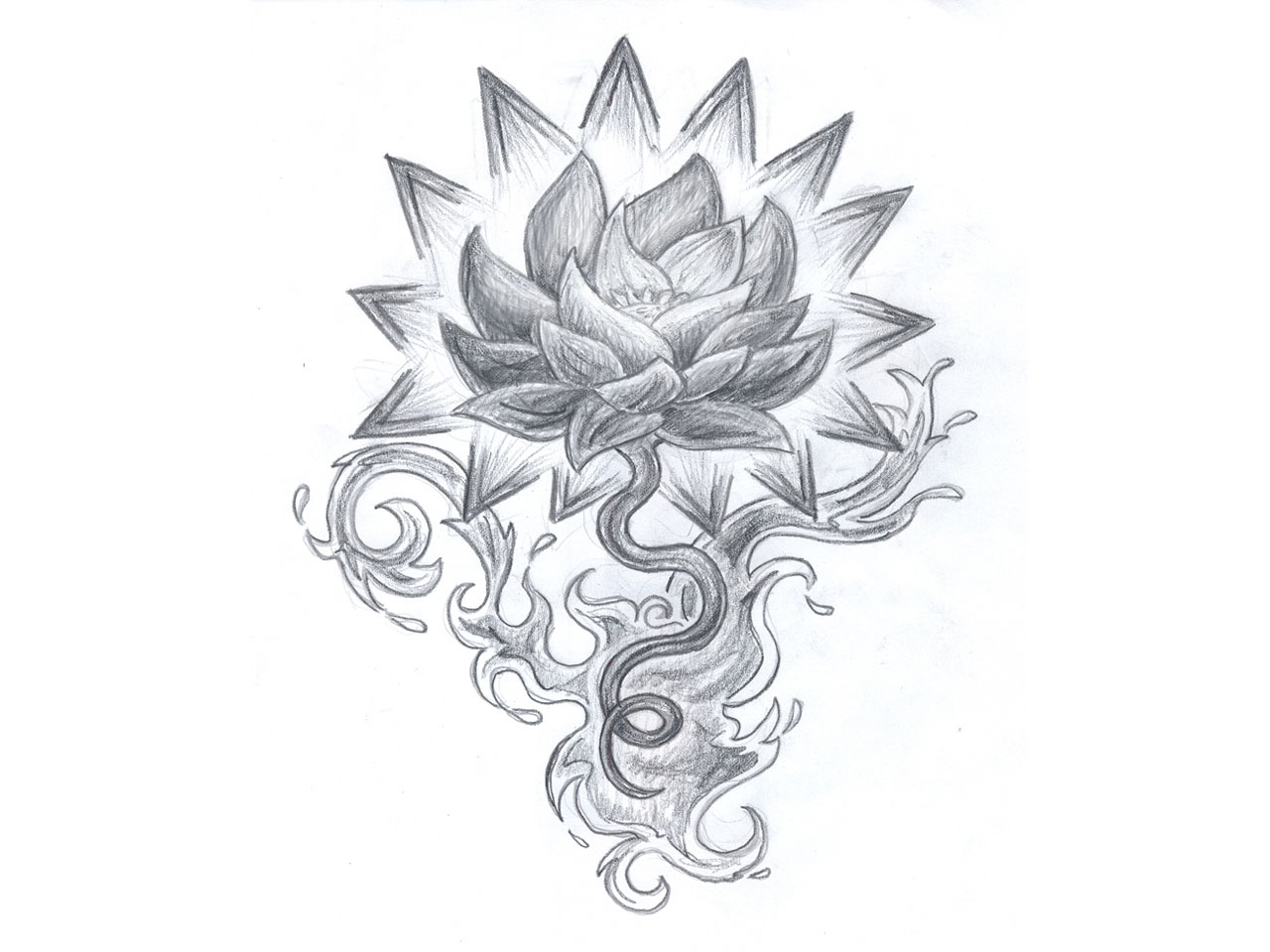 Black Line Flower Drawing : Stock photo hand drawn flower design sketch in black ink on brown